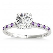 Diamond & Amethyst Single Row Engagement Ring Platinum (0.11ct)