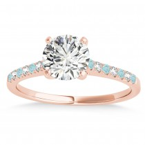Diamond & Aquamarine Single Row Engagement Ring 14k Rose Gold (0.11ct)