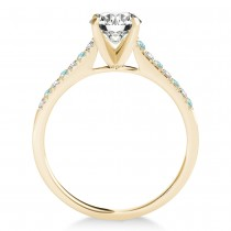 Diamond & Aquamarine Single Row Engagement Ring 14k Yellow Gold (0.11ct)