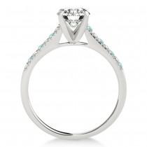 Diamond & Aquamarine Single Row Engagement Ring 18k White Gold (0.11ct)