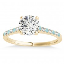 Diamond & Aquamarine Single Row Engagement Ring 18k Yellow Gold (0.11ct)