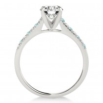 Diamond & Aquamarine Single Row Engagement Ring Palladium (0.11ct)