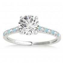 Diamond & Aquamarine Single Row Engagement Ring Platinum (0.11ct)