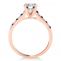 Diamond & Blue Sapphire Single Row Engagement Ring 18k Rose Gold (0.11ct)