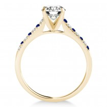 Diamond & Blue Sapphire Single Row Engagement Ring 18k Yellow Gold (0.11ct)