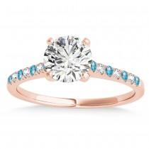 Diamond & Blue Topaz Single Row Engagement Ring 14k Rose Gold (0.11ct)