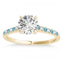 Diamond & Blue Topaz Single Row Engagement Ring 14k Yellow Gold (0.11ct)