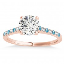Diamond & Blue Topaz Single Row Engagement Ring 18k Rose Gold (0.11ct)