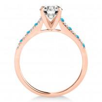 Diamond & Blue Topaz Single Row Engagement Ring 18k Rose Gold (0.11ct)