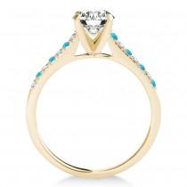 Diamond & Blue Topaz Single Row Engagement Ring 18k Yellow Gold (0.11ct)