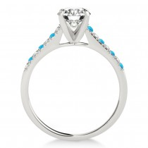 Diamond & Blue Topaz Single Row Engagement Ring Platinum (0.11ct)