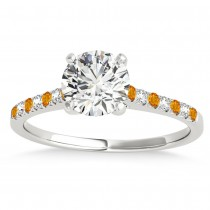 Diamond & Citrine Single Row Engagement Ring Platinum (0.11ct)