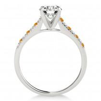 Diamond & Citrine Single Row Engagement Ring Platinum (0.11ct)