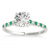 Diamond & Emerald Single Row Engagement Ring 14k White Gold (0.11ct)
