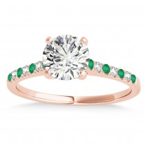 Diamond & Emerald Single Row Engagement Ring 18k Rose Gold (0.11ct)