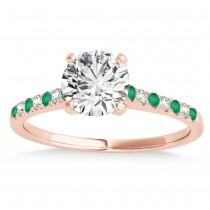 Diamond & Emerald Single Row Engagement Ring 18k Rose Gold (0.11ct)