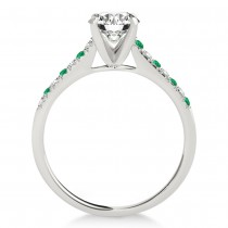 Diamond & Emerald Single Row Engagement Ring 18k White Gold (0.11ct)