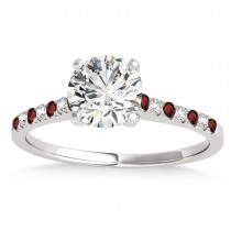 Diamond & Garnet Single Row Engagement Ring 14k White Gold (0.11ct)