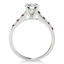 Diamond & Garnet Single Row Engagement Ring Palladium (0.11ct)