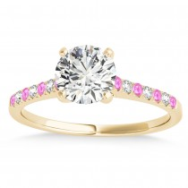 Diamond & Pink Sapphire Single Row Engagement Ring 14k Yellow Gold (0.11ct)