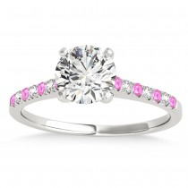 Diamond & Pink Sapphire Single Row Engagement Ring 18k White Gold (0.11ct)