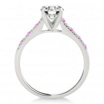Diamond & Pink Sapphire Single Row Engagement Ring Platinum (0.11ct)