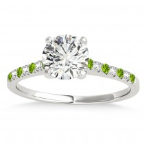 Diamond & Peridot Single Row Engagement Ring 14k White Gold (0.11ct)