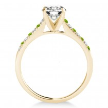Diamond & Peridot Single Row Engagement Ring 14k Yellow Gold (0.11ct)