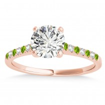 Diamond & Peridot Single Row Engagement Ring 18k Rose Gold (0.11ct)