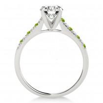 Diamond & Peridot Single Row Engagement Ring 18k White Gold (0.11ct)