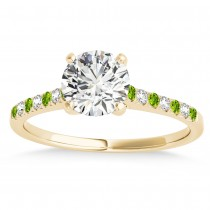 Diamond & Peridot Single Row Engagement Ring 18k Yellow Gold (0.11ct)
