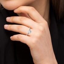 Diamond & Ruby Single Row Engagement Ring 14k White Gold (0.11ct)