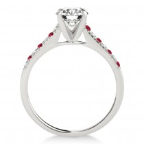 Diamond & Ruby Single Row Engagement Ring 18k White Gold (0.11ct)