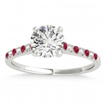 Diamond & Ruby Single Row Engagement Ring Palladium (0.11ct)