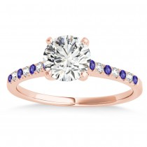 Diamond & Tanzanite Single Row Engagement Ring 14k Rose Gold (0.11ct)