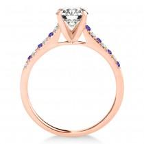 Diamond & Tanzanite Single Row Engagement Ring 14k Rose Gold (0.11ct)