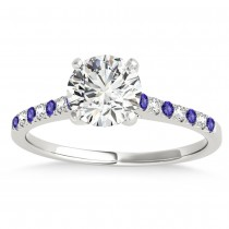 Diamond & Tanzanite Single Row Engagement Ring 14k White Gold (0.11ct)