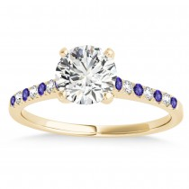 Diamond & Tanzanite Single Row Engagement Ring 14k Yellow Gold (0.11ct)