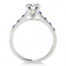 Diamond & Tanzanite Single Row Engagement Ring 18k White Gold (0.11ct)