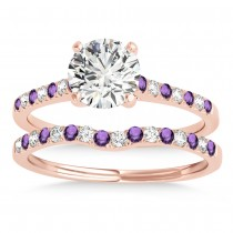 Diamond & Amethyst Single Row Bridal Set 14k Rose Gold (0.22ct)