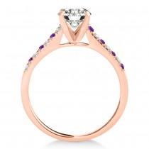 Diamond & Amethyst Single Row Bridal Set 18k Rose Gold (0.22ct)