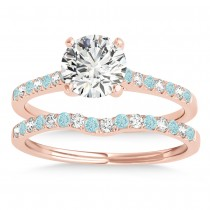 Diamond & Aquamarine Single Row Bridal Set 14k Rose Gold (0.22ct)