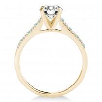 Diamond & Aquamarine Single Row Bridal Set 18k Yellow Gold (0.22ct)