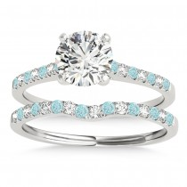 Diamond & Aquamarine Single Row Bridal Set Palladium (0.22ct)
