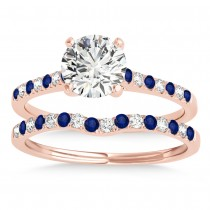 Diamond & Blue Sapphire Single Row Bridal Set 14k Rose Gold (0.22ct)