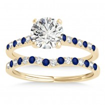 Diamond & Blue Sapphire Single Row Bridal Set 14k Yellow Gold (0.22ct)