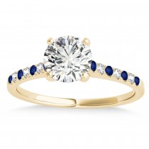 Diamond & Blue Sapphire Single Row Bridal Set 14k Yellow Gold (0.22ct)