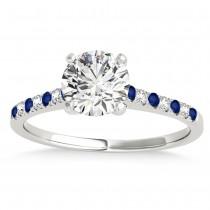 Diamond & Blue Sapphire Single Row Bridal Set 18k White Gold (0.22ct)