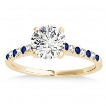 Diamond & Blue Sapphire Single Row Bridal Set 18k Yellow Gold (0.22ct)