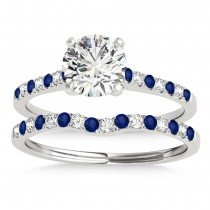 Diamond & Blue Sapphire Single Row Bridal Set Palladium (0.22ct)
